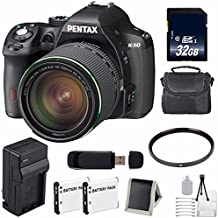 Pentax K-50 DSLR Camera With 18-135mm Lens (Black) + Replacement Lithium Ion Battery + External Rapid Charger + 32GB SDHC Class 10 Memory Card + Deluxe Starter Kit 6AVE Bundle