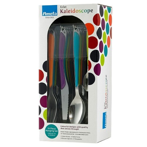 Amefa Eclat Kaleidoscope 24 Piece Hanging Cutlery Set - Multicoloured Handles