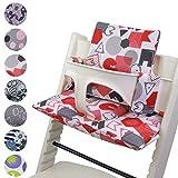 Babys-Dreams Sitzkissen Auflage Sitzkissenset für Stokke Tripp Trapp Hochstuhl *15 FARBEN* Ersatzkissen Kissen 2 teilig (ABC Rot/Weiß)