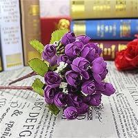 display08 1 Piece 15 Flowers Artificial Rosebud Bouquet Home Wedding Rose - Purple