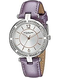 Original Vogue Stuhrling para mujer reloj infantil de cuarzo con plateado esfera analógica y Morado correa de piel 550,03