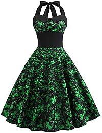VJGOAL Moda Casual de Verano para Mujer Día de San Patricio Verde Estampado de trébol de