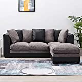 Wellgarden Faux Leather and Fabric 3 Seater Sofa Corner Group Sofa with Footstool L Shaped Sofa Settee Left or Right Chaise Couch, Grey and Black (3 Seater with Footstool)