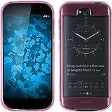 PhoneNatic Case kompatibel mit Yota Yotaphone 2 - rosa Silikon Hülle transparent + 2 Schutzfolien