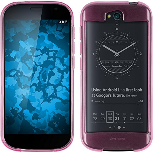 PhoneNatic Case für Yota Yotaphone 2 Hülle Silikon rosa, transparent + 2 Schutzfolien