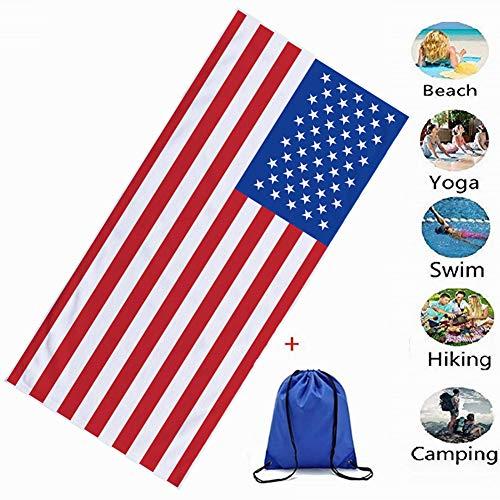 Asciugamano da spiaggia in microfibra, morbuy rettangolo telo mare grande assorbente coperta antisabbia asciugatura rapida stampato leggero per il yoga e fitness (70x150cm,bandiera americana)