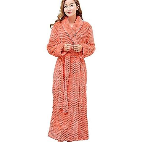 SaiDeng Unisexo Color Puro Cómodo Respirable Franela Albornoz Loungewear De Mujer