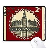 DIYthinker Londres Big Ben sello silueta Bretaña, Reino Unido antideslizante Mousepad Juego de oficina Negro Titched Bordes regalo