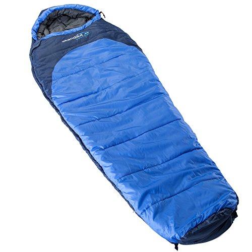 Skandika highland sacco a pelo–blu, 220cm x 70cm, unisex, highland mummy, blue