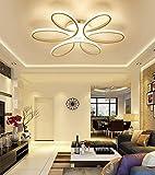 Henley LED-Deckenleuchte Modern 75W LED Lampen 6 Ring Deckenbeleuchtung Deckenstrahler Wohnzimmer Schlafzimmer Kreativ Lampe Acryl Weiß Deckenlampe für Flur Innenbeleuchtung Design Leuchte Ø58CM , Dimmbar