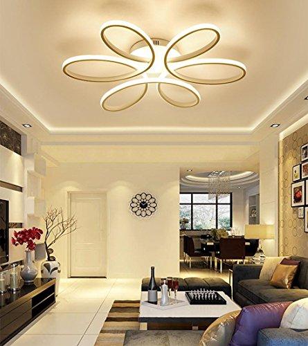 Henley LED-Deckenleuchte Modern 75W LED Lampen 6 Ring Deckenbeleuchtung Deckenstrahler Wohnzimmer Schlafzimmer Kreativ Lampe Acryl Weiß Deckenlampe für Flur Innenbeleuchtung Design Leuchte Ø58CM , Dimmbar (Ring Dimmbar Licht 75w)