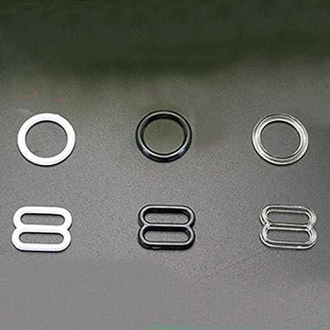 100 Paar Plastik BH Strap Adjuster Slider Haken Ringe Dessous Nähen Handwerk (Nähen Ringe)