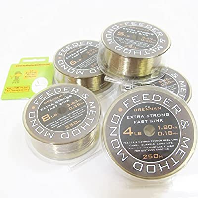 FTD - 250m Spools of DRENNAN FEEDER & METHOD MONO Fishing Line - Available in single size and size combinations - Comes with 10 FTD Barbless Hooks to Nylon from FTD & DRENNAN