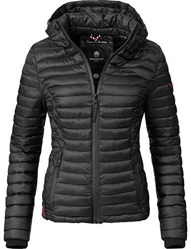 Marikoo Damen Übergangs-Jacke Jacke Steppjacke Samtpfote Schwarz Gr. XL