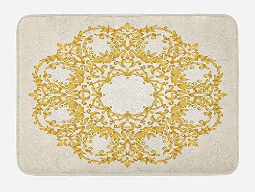 Hiaopp Victorian Badteppich mit Blumen-Ring mit Barock-Stil, türkische Hocker mit Plüsch, Matte,...