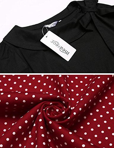 Meaneor Damen 50er Vintage Rockabilly Kleid Elegant Abendkleid Cocktailkleid Polka Dots Langarm Kleid Kontrastfarbe Hersbt Winter mit Schleife Rot