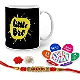 Indigifts Crystal Rakhi , Little Bro Quote Printed Black & White Mug 330 Ml, Roli, Chawal & Greeting Card For Men/Boys