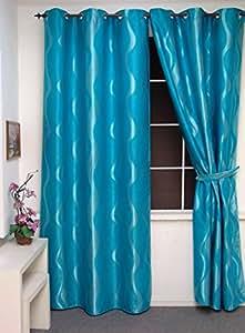 Rideau Oeillets Occultant Tissé Vague Bleu Turquoise 135 X 260 CMS