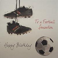 white cotton cards 1 pieza A un de balón de fútbol Sensation L-XL de cumpleaños tarjeta de felicitación de, fútbol y conector de
