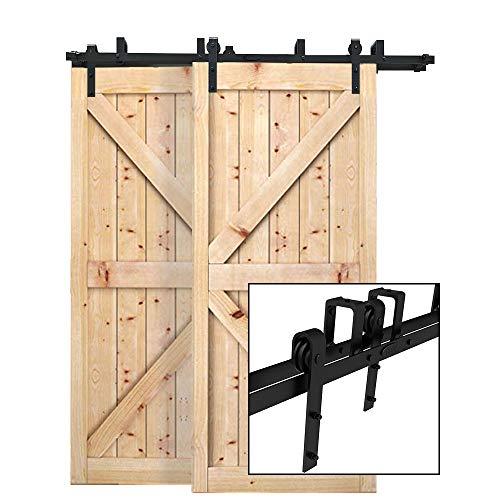 CCJH 5FT-153cm Bypass Quincaillerie Kit de Rail Roulettes pour Porte Coulissante Hardware pour Deux Portes Suspendue en Bois Sliding Barn Door Hardware Flat Shaped