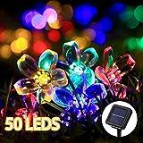 Solar Lichterkette Aussen mit LED, GreenClick 50LED 23ft/7m Solarbetriebene Lichterketten und Lichterkette Außen Solar Bunte Blumen für Garten, Hochzeit, Party, Weihnachten 800mAh(Bunt)