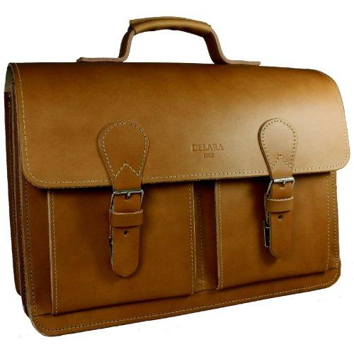 DELARA Aktentasche aus braunem Leder mit Schulterriemen und Schulterpolster - Made in Germany