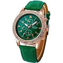 Relojes Pulsera Mujer, Xinan Relojes de Cuarzo de Cuero de Moda Banda Analógica (Verde