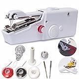 Ailiebhaus Hand-Nähmaschine Mini mit Doppelnadel Handnähmaschine Tragbar Weiß Ideal für