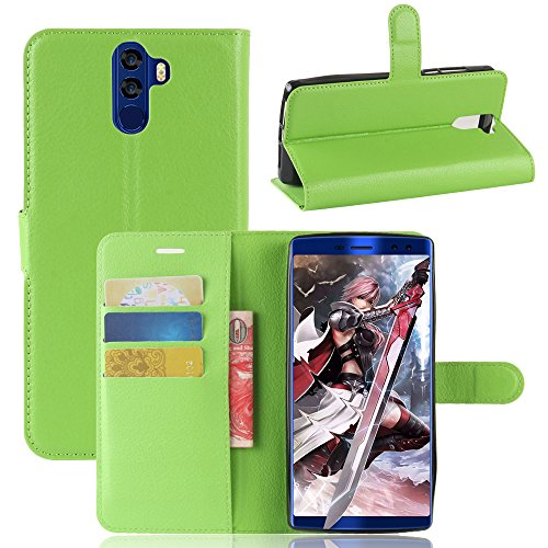 Kihying Hülle für Doogee BL12000 / Doogee BL12000 PRO Hülle Schutzhülle PU Leder Flip Wallet Fashion Geschäft HandyHülle (Grün - JFC06)