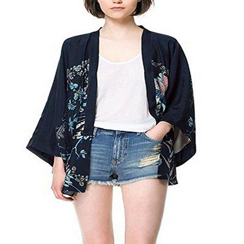 Qissy® Allentato Parte Posteriore Stile Phoenix Modello Kimono Manica Donna Cardigan Giacca Coat (L)