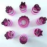 uniquQ 9 Stück Ausstechformen Gemüse Ausstecher Edelstahl Ausstechformen Mini Blume Stern Tiere Fruchtform Fondant Ausstecher mit Antirutsch Schutz Griff für Gemüse, Obst und Plätzchen Torten (Rosa)