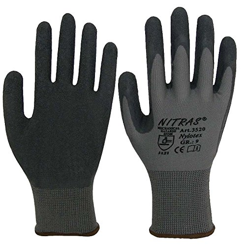 NITRAS - 12 paia di guanti da lavoro in nylotex EN 388 cat. 2 misura 9