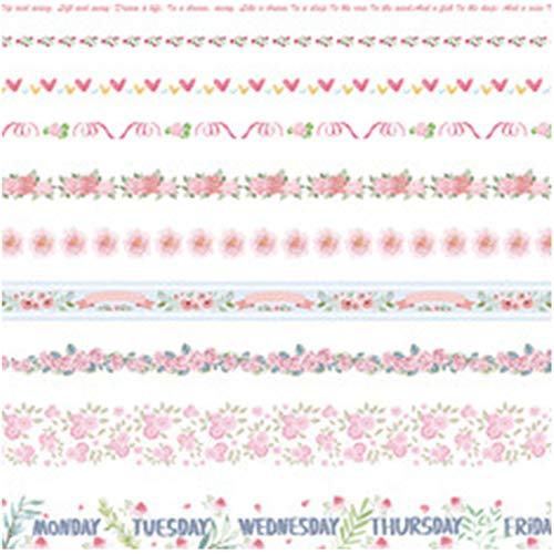 WISH4U 10 Rollen Washi Tape Set - 10mm breit, Bunte Ocean Style Design, dekorative Masking Tape für DIY Craft Scrapbooking Geschenkpapier