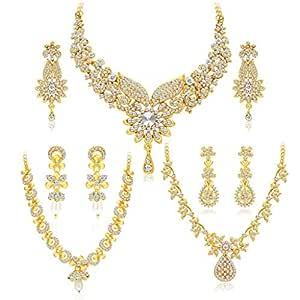 Sukkhi Dazzling Gold Plated Wedding Jewellery Austrian Diamond Choker Necklace Set Combo For Women (413CB1900)