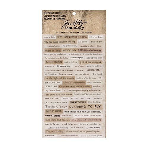 Tim Holtz Idea-ology Clippings Stickers , 0.33 Inches Tall, 295 Word Stickers on 4 Sheets