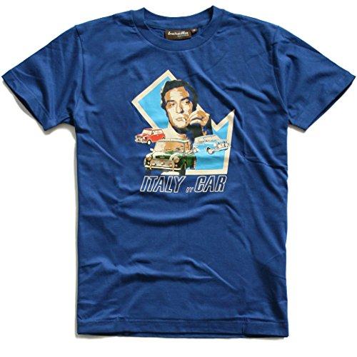 Baretta T-Shirt Italy by Car, Blau, 6oer Kultfilm Mini Cooper Goldraub Turin, XL
