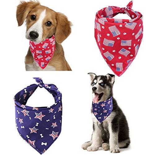 Yosbabe Halstuch für Hunde mit USA-Flagge, für 4. Juli Unabhängigkeitstag, waschbar, Halstuch, Halstuch, Halstuch, quadratisch, für kleine bis große Hunde