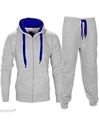 Homme Contraste Corde sweat à capuche pantalon Gym Survêtement Taille S M L XL