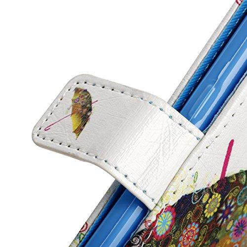 Samsung Galaxy S7 Hülle, SainCat Ledertasche Brieftasche im BookStyle PU Leder Muster Hülle Wallet Case Folio Schutzhülle Bumper Handytasche Backcover Handy Tasche Flip Cover Buchstil Klapptasche in L Parapluies colorés