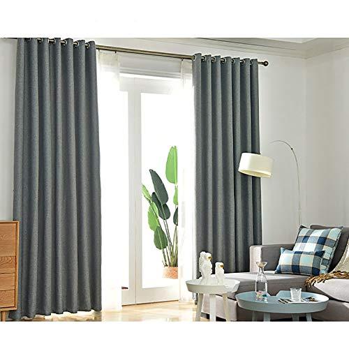 DYJILE Tülle vorhänge Blackout Wärmeisoliert, Gegen hitze und kälte, Für Wohnzimmer Küchenfenster Schlafzimmer-Dunkelgrau grau~POS=HEADCOMP 150x270cm(59x106inch)