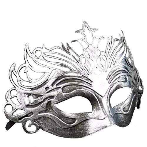 RXBC2011 Maskerade Vintage Rom Gladiator Krone Maske Antik Half Face Männer und Frauen Augenmaske Party Ball Performance Festival Supplies Silber Masquerade
