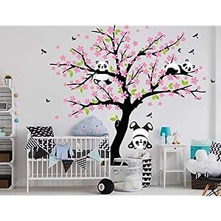 BDECOLL Birke Wandaufkleber Baum mit Vögeln für Kinderzimmer Wandtattoo Aufkleber/Aufkleber Wohnzimmer Decor(weiß)