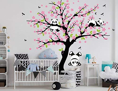 BDECOLL Cartoon arbre Panda DIY Stickers muraux,arbres Stickers muraux apier peint amovible Stickers...