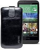 Original Suncase® Etui Tasche für HTC Desire 510   HTC Desire 526G Dual SIM   ZTE Blade V6 Leder Etui Handytasche Ledertasche Schutzhülle Case Hülle *Lasche mit Rückzugfunktion* rustik-schwarz