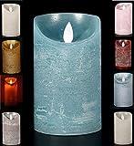 LED Echtwachskerze Kerze viele Farben mit Timer flackender Docht Wachskerze Kerzen Batterie, Farbe:Blau, Größe:12.5 cm