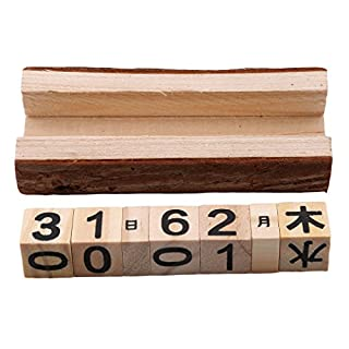 Jixing Vintage Wooden Perpetual Calendar - Tischplatte ewigen Kalender Blöcke Kalender DIY Büromöbel