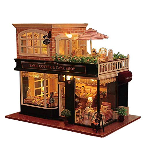 Rylai Wooden Handmade Dollhouse Miniature DIY Kit - Romantic Cafe Series Wooden Dollhouses & Furniture/Parts(1:24 Scale Dollhouse) by Rylai