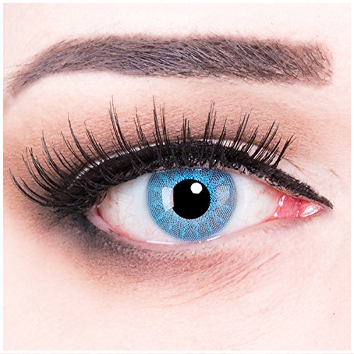 Farbige blaue hellblaue Kontaktlinsen crazy Kontaktlinsen crazy contact lenses Solar Blue Hellblau blau 1 Paar. Mit Linsenbehälter + 60ml Pflegemittel