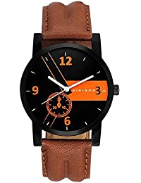 Vikings Analog Stylish Black Dial With Brown Leather Strap (VK GR108-BLK-BRWN)