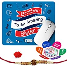 Indigifts Rakshabandhan Brother To An Amazing Sister Quote Printed Mouse Pad 8.5x7 inches & Greeting Card Crystal Rakhi Gifts